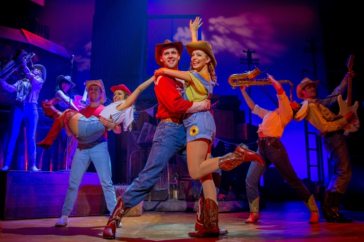 Tomas Wolstenholme as Bickle and Laura Sillett as Rusty in Footloose. Photo Credit Matt Martin