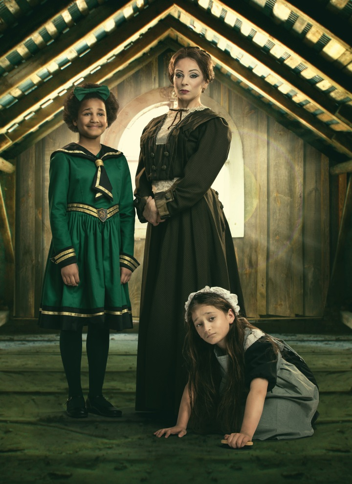 A Little Princess 6 Amanda Abbington as Miss Minchin with 2 young co-stars Photo by Michael Wharley