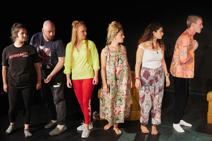 Sacrifice by Ardent. Jamie Parker, Henry Holmes, Clare Hawkins, Sophie Coulter, Angela Crispim & Garry Skimins. Credit - Mark Douet.