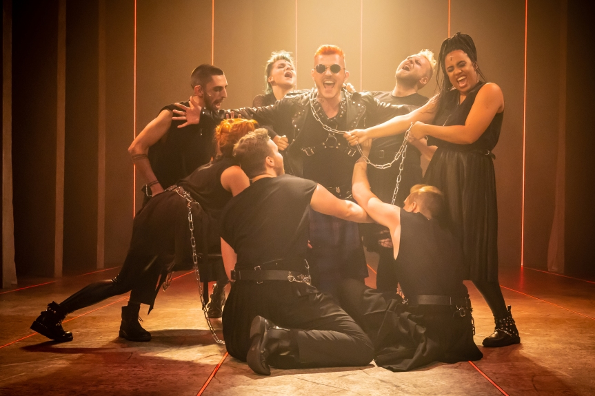 MYTHIC Michael Mather (Hades) and cast Photo Marc Brenner
