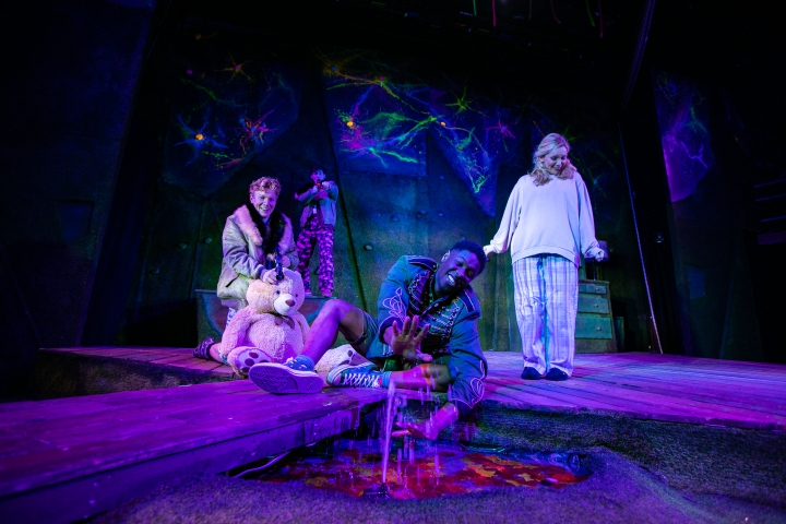 Adam Buchanan (Michael), Nickcolia King-N'Da (Peter Pan) and Rosemary Boyle (Wendy) in Peter Pan at Park Theatre. Photo credit - Chris Gardner (1)