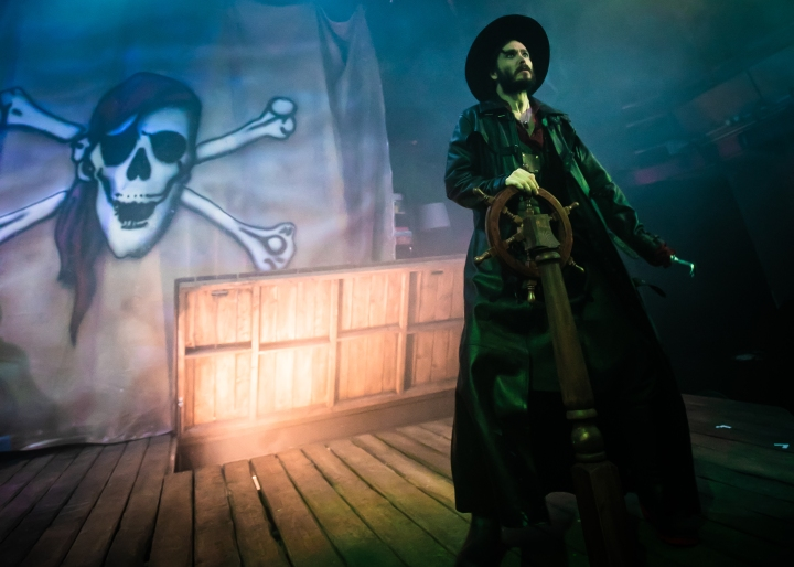 Alexander Vlahos (Hook) in Peter Pan at Park Theatre. Photo by Chris Gardner