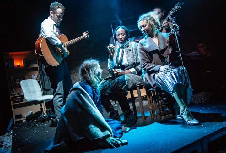 Bronté Barbé (The Little Match Girl), Declan Bennett (Brendan), Danielle Kassaraté (Narrator) and Kate Robson-Stuart (Ensemble) (c) Tom Grace
