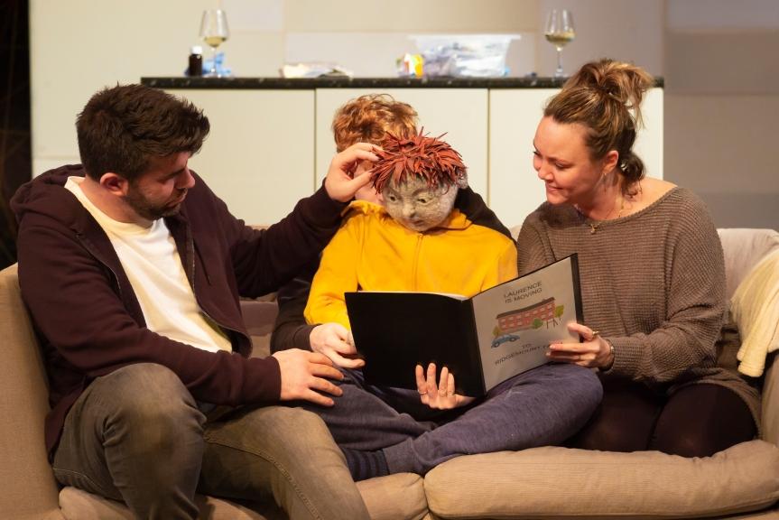 All in a Row. Simon Lipkin (Martin), Hugh Purves (Laurence) & Charlie Brooks (Tamora). Credit - Nick Rutter