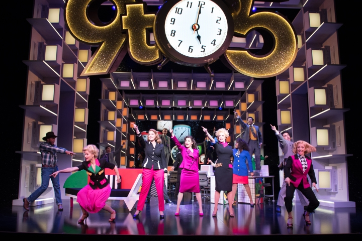 9 TO 5 THE MUSICAL. Caroline Sheen 'Violet Newstead', Amber Davies 'Judy Bernly', Natalie McQueen 'Doralee Rhodes' and company. Photo Craig Sugden (2)