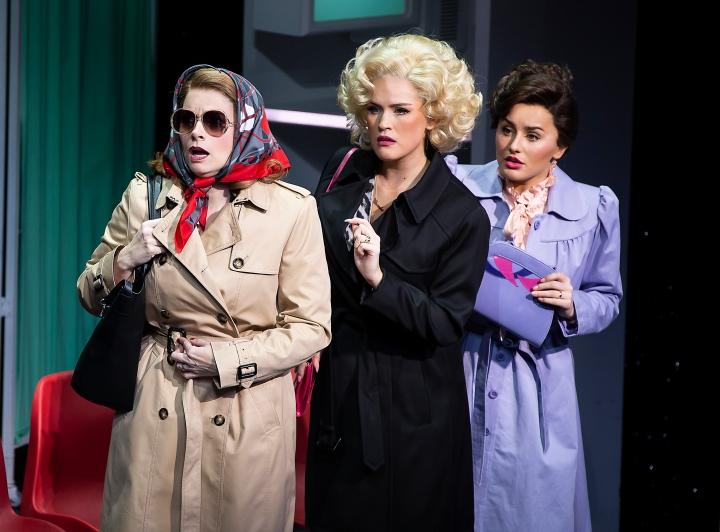 9 TO 5 THE MUSICAL. Caroline Sheen 'Violet Newstead', Natalie McQueen 'Doralee Rhodes', Amber Davies 'Judy Bernly'. Photo Pamela Raith