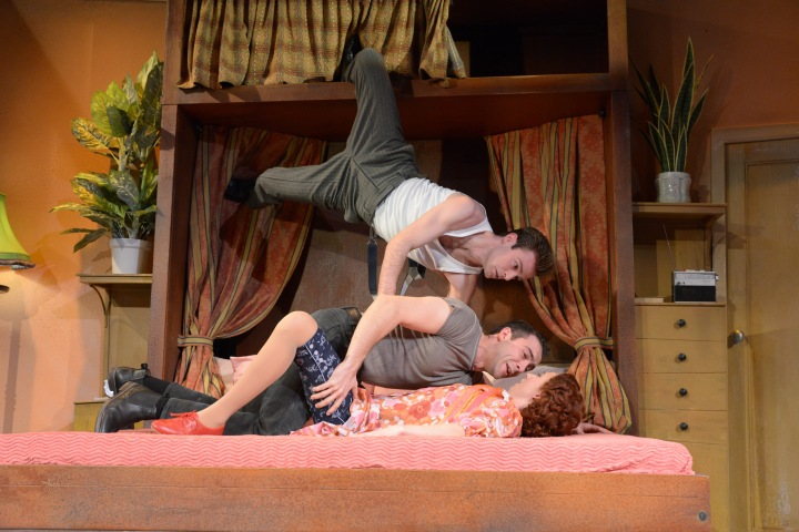 Jack Whittle (Sam Monaghan), Gareth Tempest (Mitch Ruscitti) and Emily Stott (Caprice Freeboys) (c) Robert Day